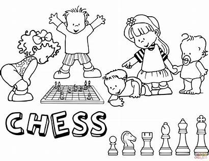 Chess Playing Coloring Ajedrez Children Pages Para