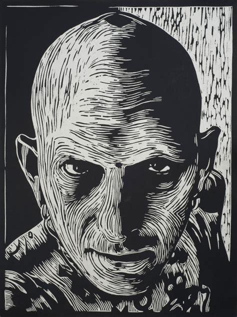 black and white linoleum brainstorming portrait woodcut hart