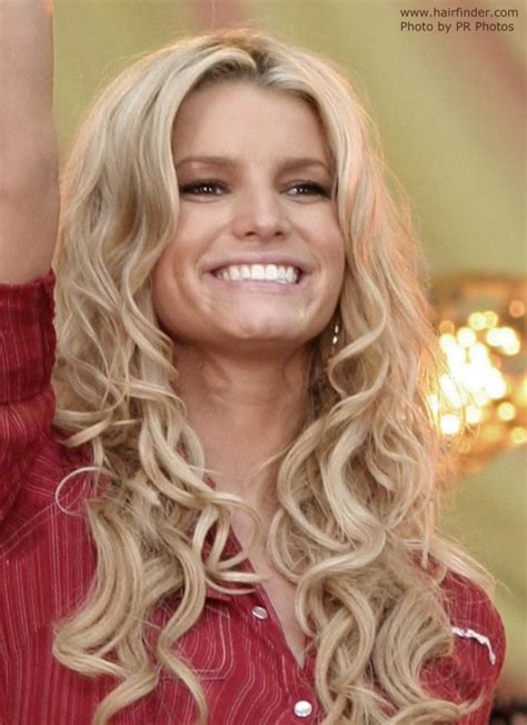 jessica simpsons  long hair  curls hanging