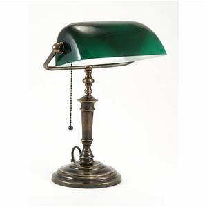 Traditional bankers desk lamp with green shade for Classic floor reading lamp