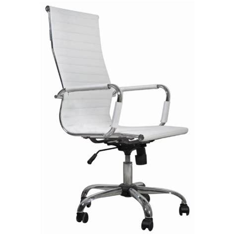 chaise de bureau en cuir chaise de bureau simili cuir blanc dossier haut achat