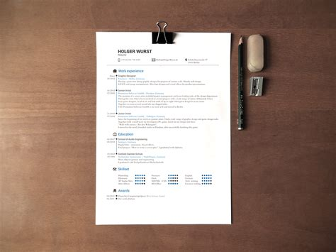 cv mockup simple dina  desk  psd  behance