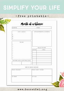 Free printable month at a glance nice and free printable for Month at a glance blank calendar template