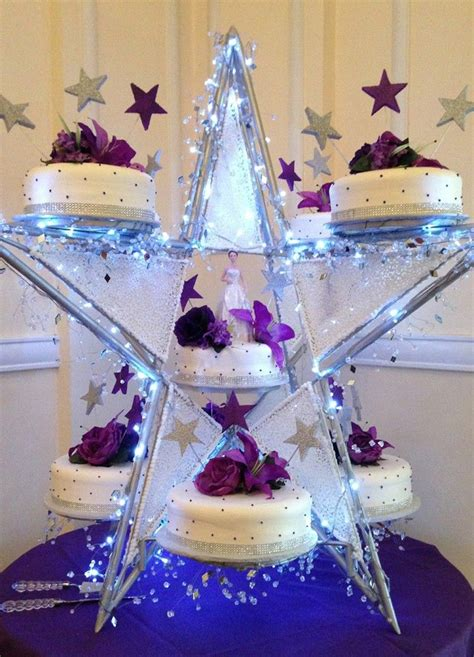 purple star shape quinceanera cake