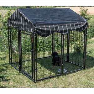 Lucky dog 52quoth x 439w x 439l pet resort kennel w cover for Outside covered dog kennels