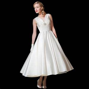 marilyn satin tea length wedding dress by loulou style lb55 With 1950s tea length wedding dress