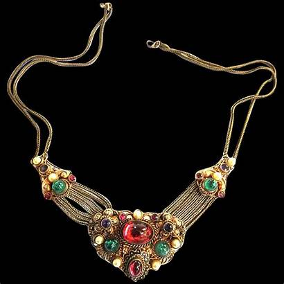 1900s Early Jeweled Czech Necklace Parures