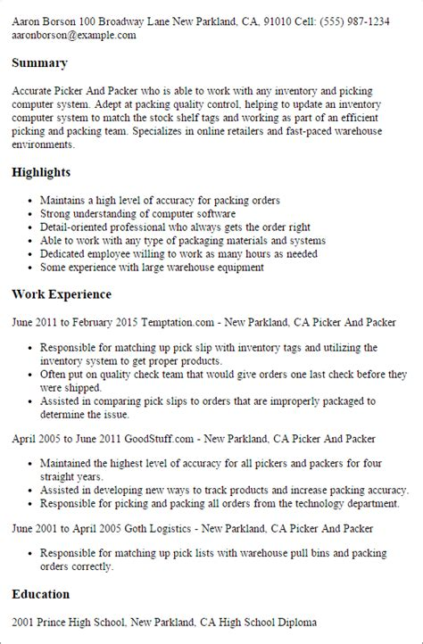 Picker Packer Resume Sle by 1 Picker And Packer Resume Templates Try Them Now