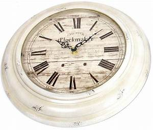 Distressed, White, Washed, Antique, Looking, Clock, 33cm