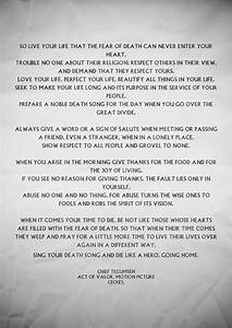 Poem by Tecumseh from Act of Valor. I cry when I read this ...