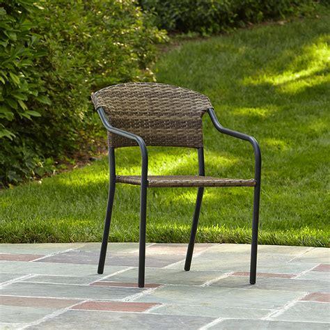essential garden steel stack wicker chair outdoor living