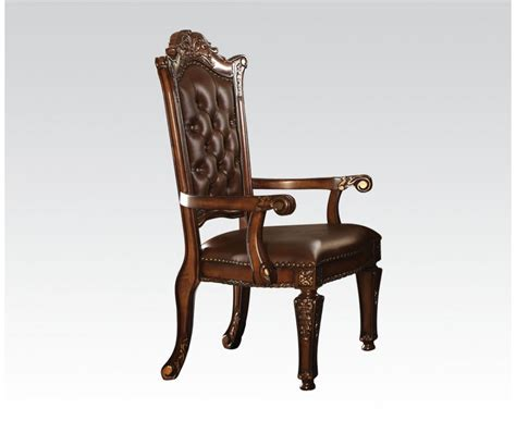 vendome traditional button tufted faux leather arm chair