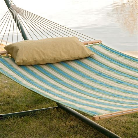 Hammock And Hammock Stand by Oaks Quilted Sunbrella Fabric Hammock With Stand