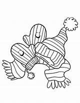 Coloring Mittens Winter Atributes Gloves Colorluna Luna Season Template Quote sketch template
