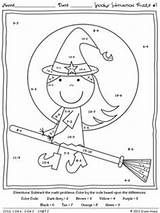 Math Halloween Coloring Subtraction Fall Worksheets Code Puzzles Sheets Printables Spooky Addition Worksheet Pages Maths Grade Number 5th Fun Printable sketch template