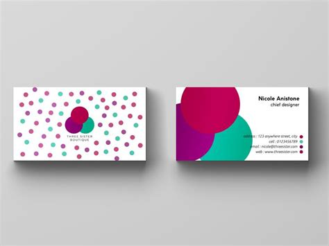 threesister boutique business card  images