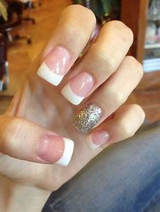 Acrylic nails, French tip, Glitter, Pink and white ...