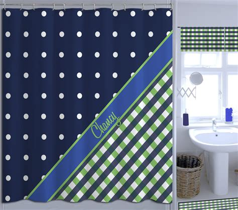 navy blue and green plaid and polka dots shower curtain
