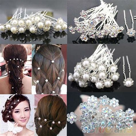 Fashion 20/40Pcs Wedding Bridal Flower Crystal Hairpin
