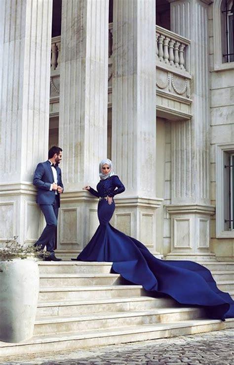 muslim evening dress navy blue evening dress mermaid evening dress cathedral train evening
