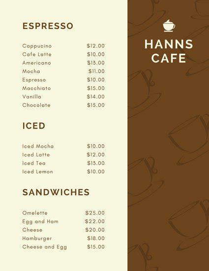 Cafe Menu Template by Customize 158 Cafe Menu Templates Canva