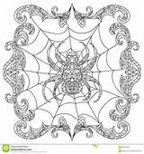 Coloring Spider Zentangle Chandelier Pages Halloween Abstract Adult Mandala Getcolorings Cute Illustration Printable Shapes Dreamstime sketch template