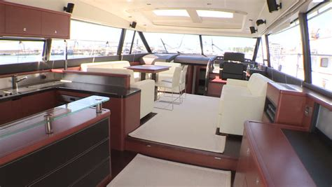 Salon And Kitchen On Main Deck Of A Luxury Boat Stock