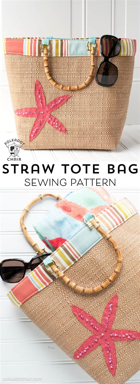 beach bound straw tote  beach bag sewing pattern