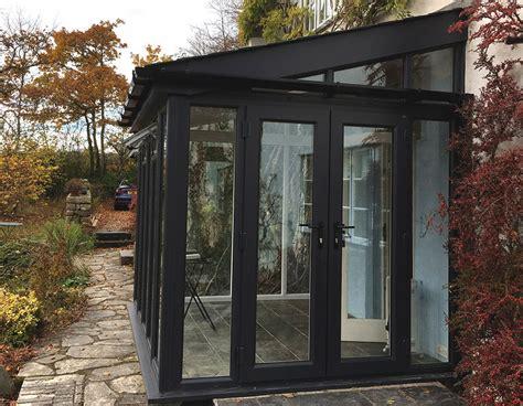 black upvc lean  conservatory renaissance conservatories