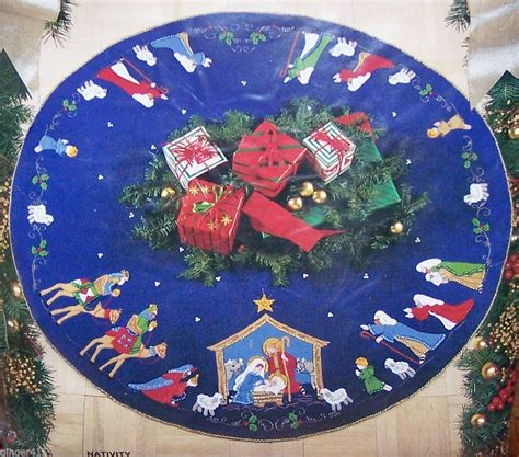 nativity christmas tree skirt kits