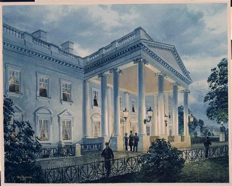 painting  president lincoln   north portico