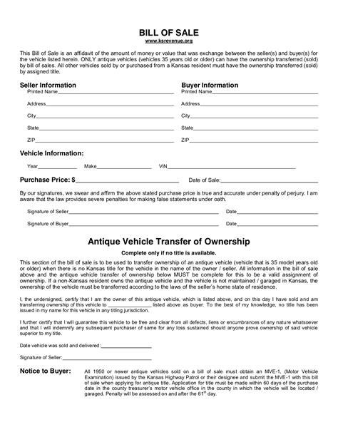 kansas bill  sale form  template legaltemplates