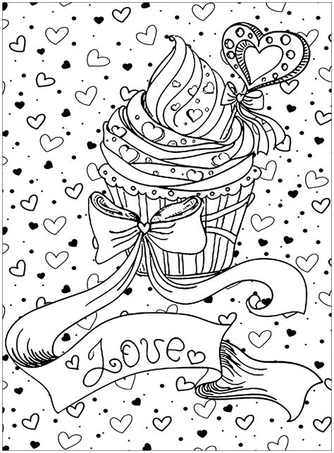 cupcake love cupcakes adult coloring pages