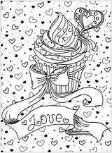 Coloring Cupcake Pages Cake Adults Cupcakes Cup Cakes Mothers Valentines Pastry Adult Printable Sheets Heart Baking sketch template