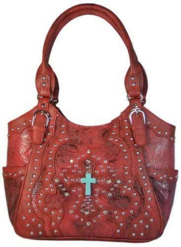 red tooled leather purse ebay