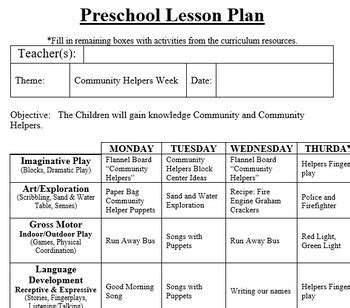 preschool lesson plan and detailed activities community 2 | original 2978658 1