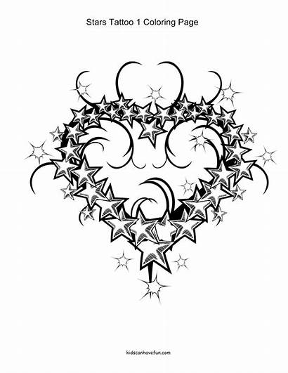 Tattoo Hearts Flowers Coloring Pages Designs Stars