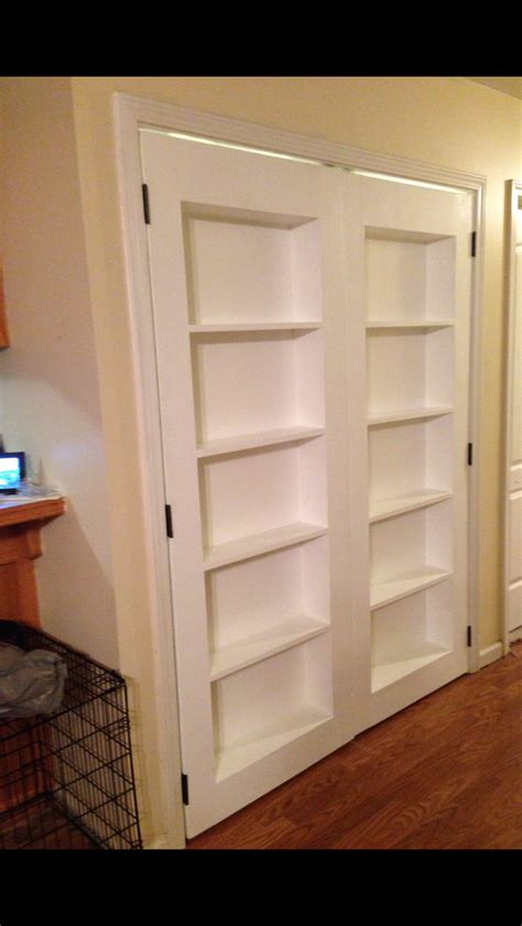 diy bookcase closet door ana white double inset bookshelf doors diy projects