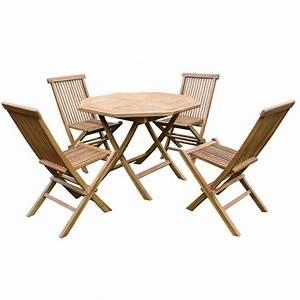 Table De Jardin 4 Personnes : salon de jardin table octogonale 4 chaises en teck trigano store ~ Teatrodelosmanantiales.com Idées de Décoration