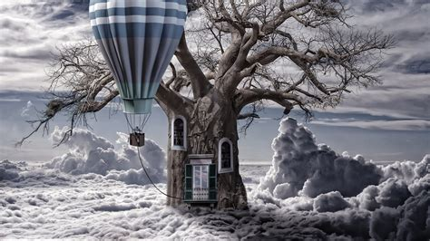 hd hintergrundbilder luft ballon baum tuer fenster wolken