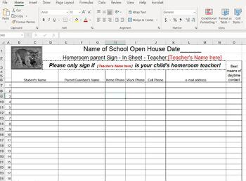 open house parent sign  sheet spreadsheet editable