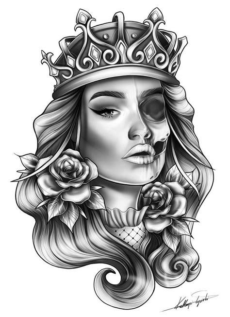 Skull femanine queen half sleeve custom tattoo design idea by TattooTailors.com | Tattoo designs