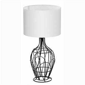 Eglo 94607 fagona small black metal cage table lamp with for Z table lamp uk