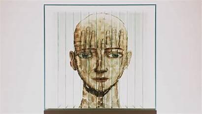 Sculpture Thomas Medicus Anamorphose Head Instructor Verre