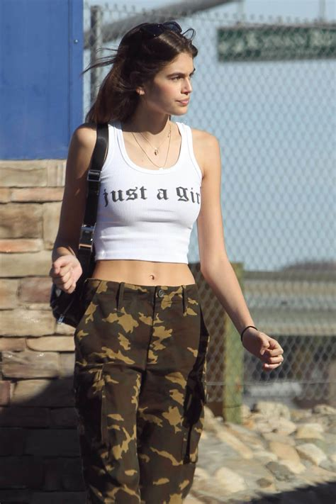 Kaia Gerber in Tank Top & Cargo Pants Out and About in Los ...