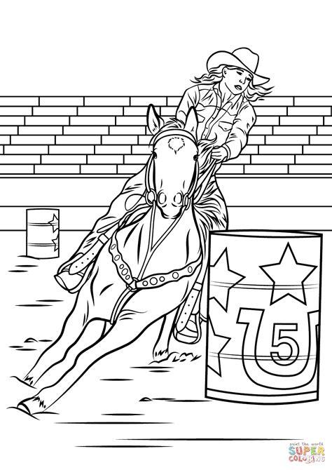 Horse Barrel Racing Coloring Page Free Printable