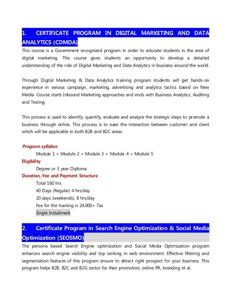 digital marketing course details digital marketing course details 2017
