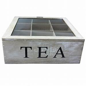 Boite à Thé Bois : boite th compartiment en bois pour th s et tisanes ~ Teatrodelosmanantiales.com Idées de Décoration