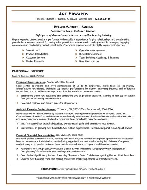resume format for branch manager resume sles ace resume