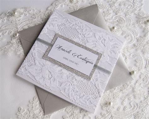 Elegant Wedding Invitation Lace Wedding Invitation White